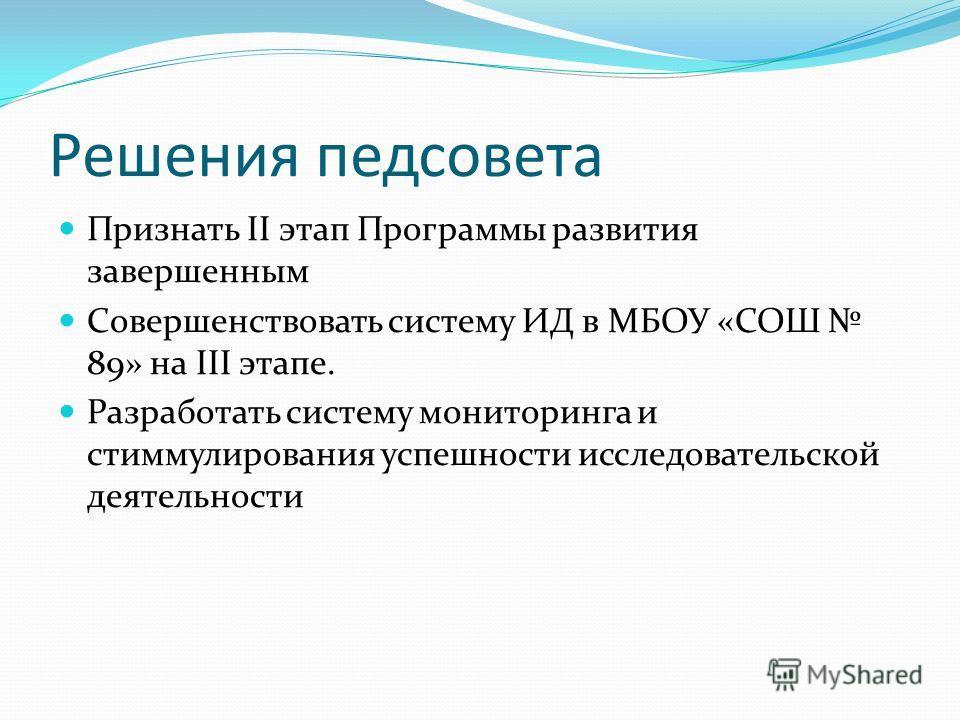 Решения педсовета Признать II этап Программы развития завершенным Совершенствовать систему ИД в МБОУ «СОШ 89» на III этапе. Разработать систему мониторинга и стиммулирования успешности исследовательской деятельности