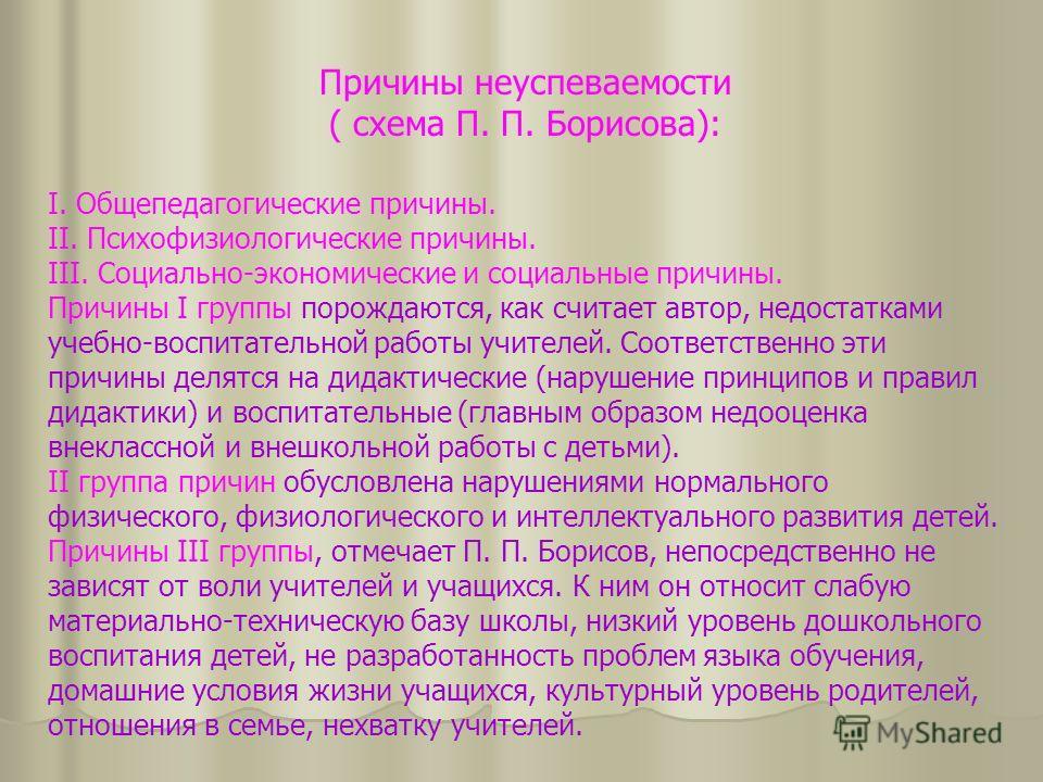 Причины неуспеваемости ( схема П. П. Борисова): I. Общепедагогические причины. II. Психофизиологические причины. III. Социально-экономические и социальные причины. Причины I группы порождаются, как считает автор, недостатками учебно-воспитательной ра