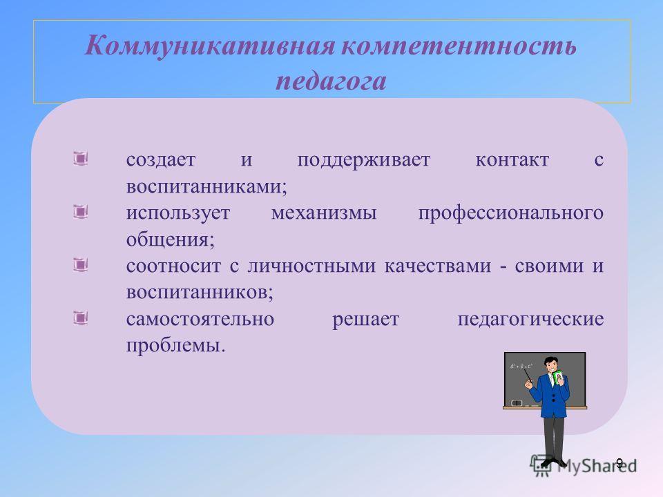 Коммуникативная компетентность педагога создает и поддерживает контакт с воспитанниками; использует механизмы профессионального общения; соотносит с личностными качествами - своими и воспитанников; самостоятельно решает педагогические проблемы. 9