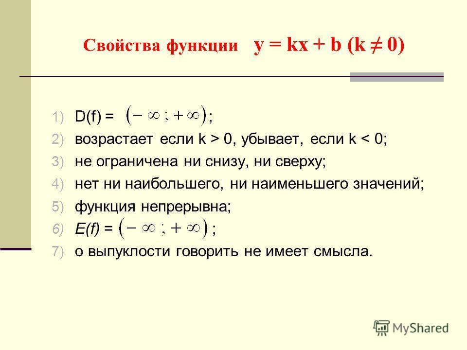 Свойства функции у = kх + b (k 0) 1) D(f) = ; 2) возрастает если k > 0, убывает, если k < 0; 3) не ограничена ни снизу, ни сверху; 4) нет ни наибольшего, ни наименьшего значений; 5) функция непрерывна; 6) Е(f) = ; 7) о выпуклости говорить не имеет см