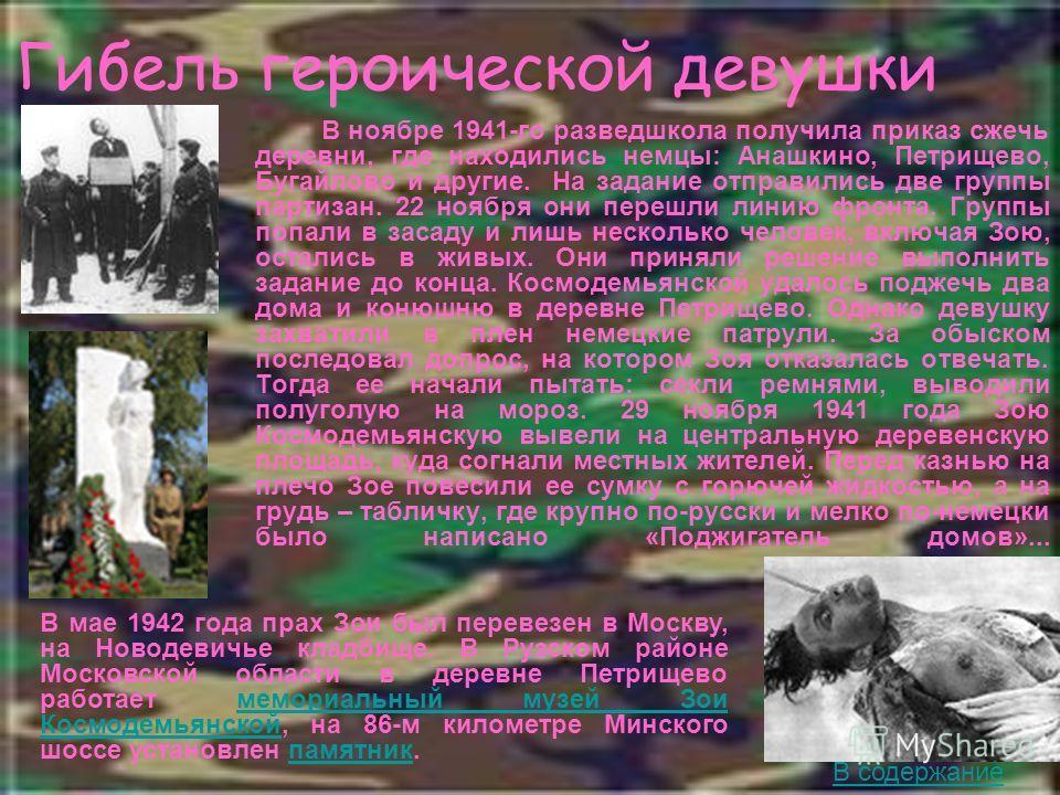Гибель героической девушки В ноябре 1941-го разведшкола получила приказ сжечь деревни, где находились немцы: Анашкино, Петрищево, Бугайлово и другие. На задание отправились две группы партизан. 22 ноября они перешли линию фронта. Группы попали в заса