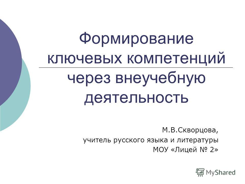 Формирование ключевых компетенций через внеучебную деятельность М.В.Скворцова, учитель русского языка и литературы МОУ «Лицей 2»