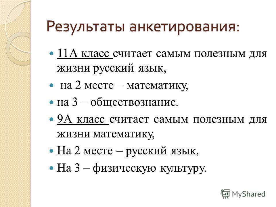 Результаты анкетирования : 11А класс считает самым полезным для жизни русский язык, на 2 месте – математику, на 3 – обществознание. 9А класс считает самым полезным для жизни математику, На 2 месте – русский язык, На 3 – физическую культуру.
