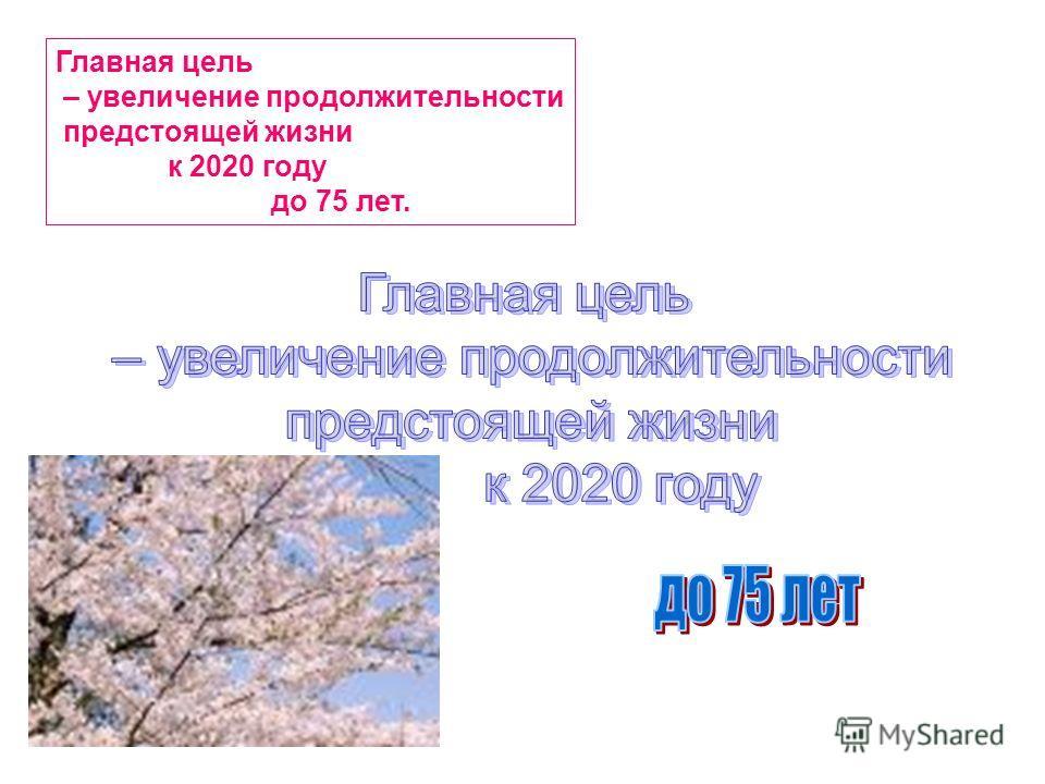 Главная цель – увеличение продолжительности предстоящей жизни к 2020 году до 75 лет.