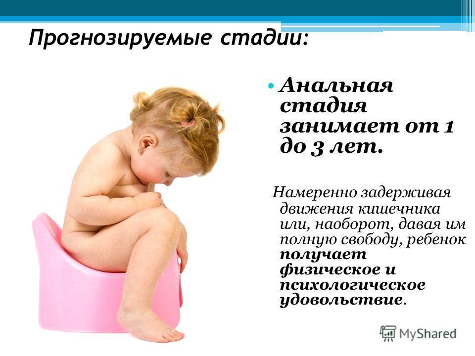 Прогнозируемые стадии: Анальная стадия занимает от 1 до 3 лет. Намеренно задерживая движения кишечника или, наоборот, давая им полную свободу, ребенок получает физическое и психологическое удовольствие.