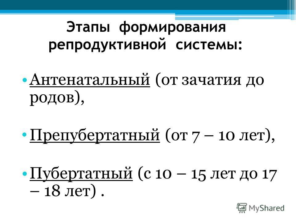 Этапы формирования репродуктивной системы: Антенатальный (от зачатия до родов), Препубертатный (от 7 – 10 лет), Пубертатный (с 10 – 15 лет до 17 – 18 лет).