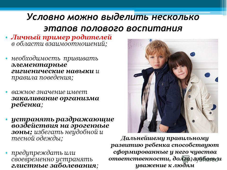 Условно можно выделить несколько этапов полового воспитания Личный пример родителей в области взаимоотношений; необходимость прививать элементарные гигиенические навыки и правила поведения; важное значение имеет закаливание организма ребенка; устраня