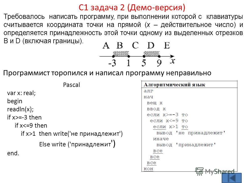 Требовалось написать программу, при выполнении которой с клавиатуры считывается координата точки на прямой (x – действительное число) и определяется принадлежность этой точки одному из выделенных отрезков В и D (включая границы). С1 задача 2 (Демо-ве