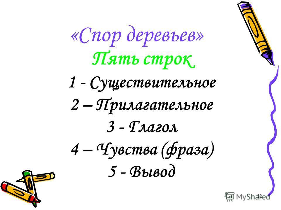 11 «Спор деревьев» Пять строк 1 - Существительное 2 – Прилагательное 3 - Глагол 4 – Чувства (фраза) 5 - Вывод