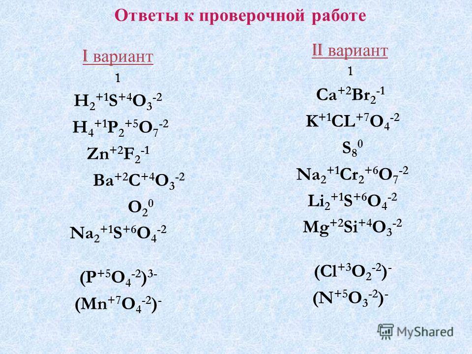 Ответы к проверочной работе I вариант 1 H 2 +1 S +4 O 3 -2 H 4 +1 P 2 +5 O 7 -2 Zn +2 F 2 -1 Ba +2 C +4 O 3 -2 O 2 0 Na 2 +1 S +6 O 4 -2 (P +5 O 4 -2 ) 3- (Mn +7 O 4 -2 ) - II вариант 1 Ca +2 Br 2 -1 K +1 CL +7 O 4 -2 S 8 0 Na 2 +1 Cr 2 +6 O 7 -2 Li