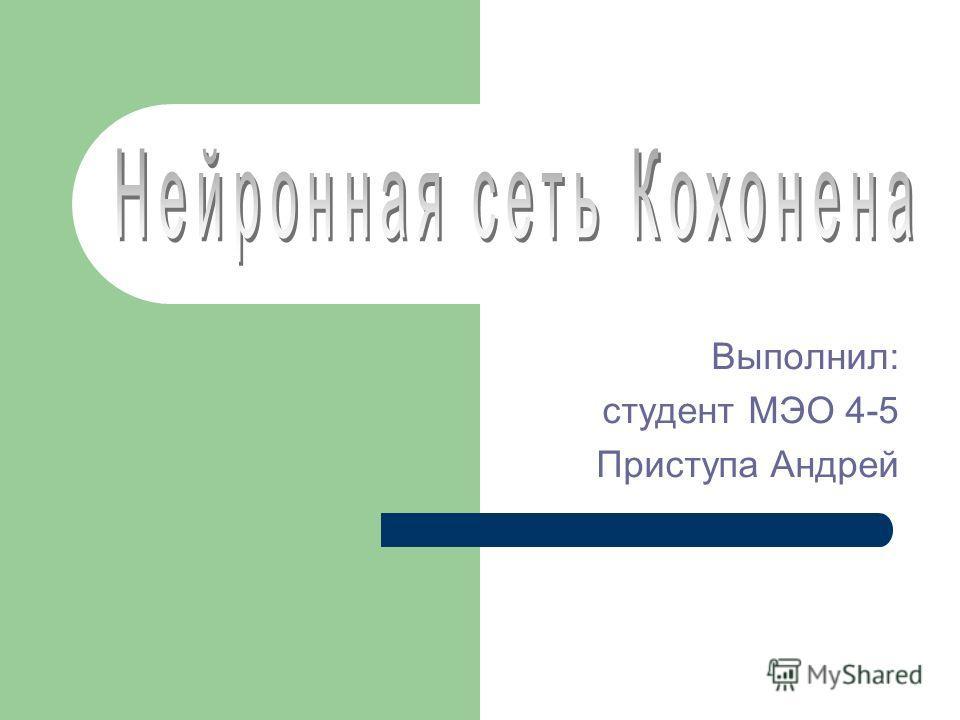 Выполнил: студент МЭО 4-5 Приступа Андрей