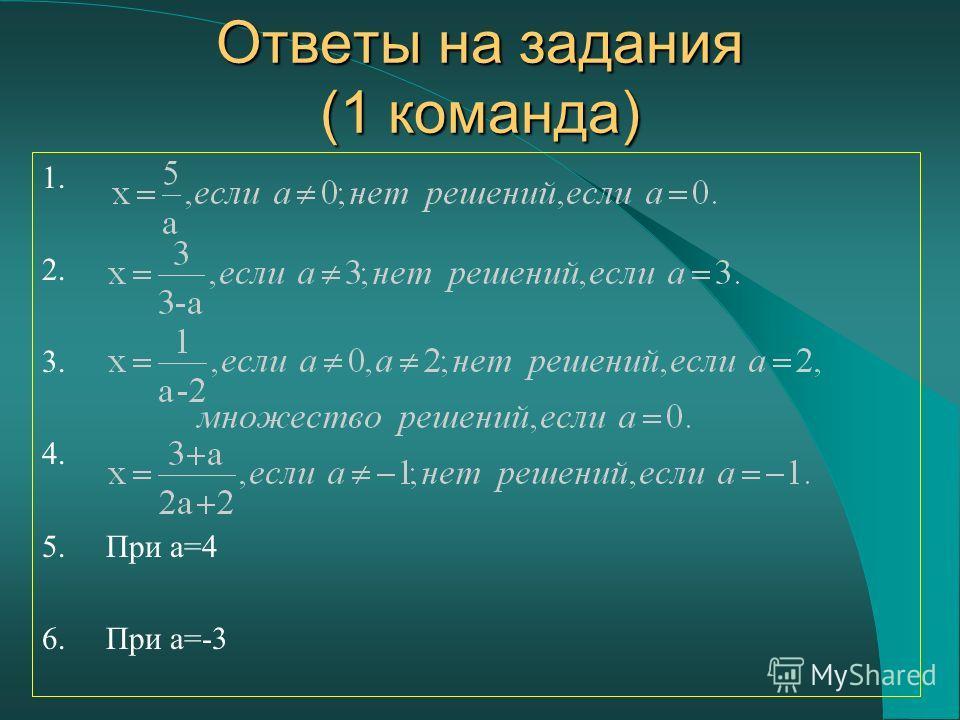 Ответы на задания (1 команда) 1. 2. 3. 4. 5. При a=4 6. При a=-3