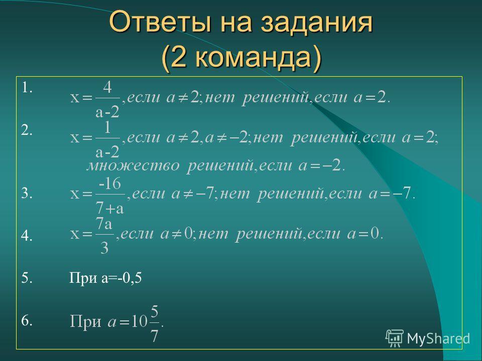 1. 2. 3. 4. 5. При a=-0,5 6. Ответы на задания (2 команда)