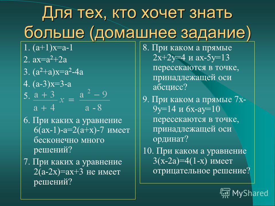 Для тех, кто хочет знать больше (домашнее задание) 1. (a+1)x=a-1 2. ax=a 2 +2a 3. (a 2 +a)x=a 2 -4a 4. (a-3)x=3-a 5. 6. При каких a уравнение 6(ax-1)-a=2(a+x)-7 имеет бесконечно много решений? 7. При каких a уравнение 2(a-2x)=ax+3 не имеет решений? 8
