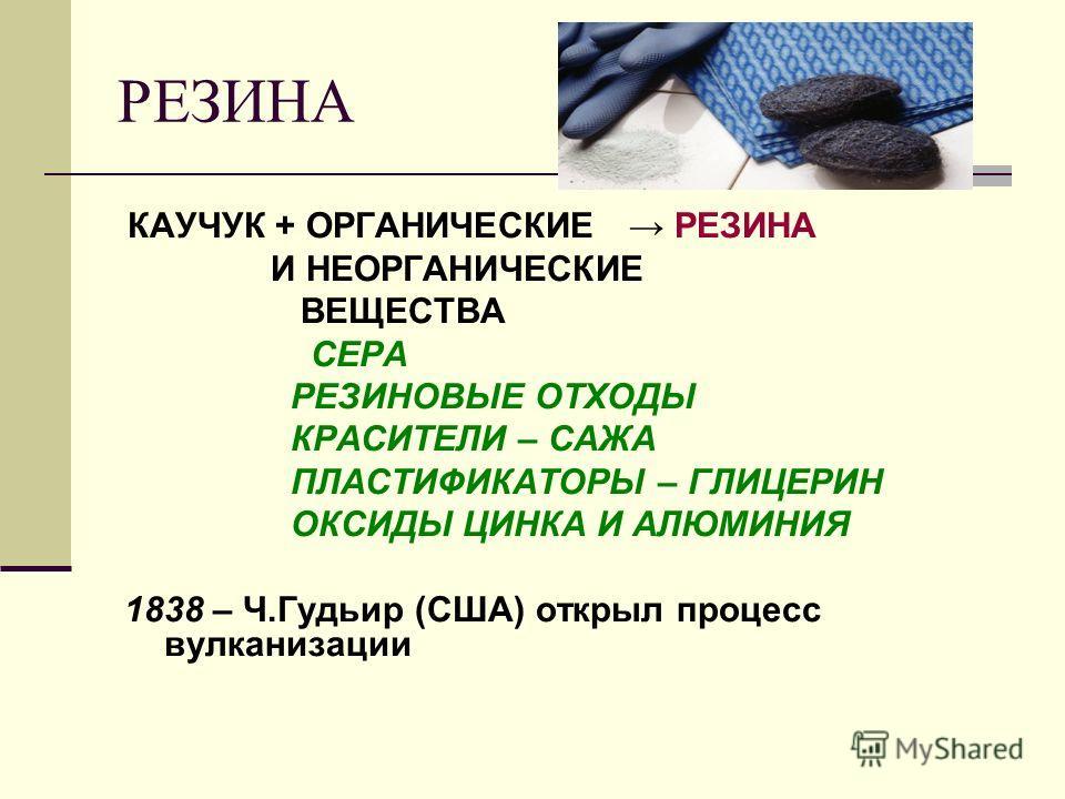 РЕЗИНА КАУЧУК + ОРГАНИЧЕСКИЕ РЕЗИНА И НЕОРГАНИЧЕСКИЕ ВЕЩЕСТВА СЕРА РЕЗИНОВЫЕ ОТХОДЫ КРАСИТЕЛИ – САЖА ПЛАСТИФИКАТОРЫ – ГЛИЦЕРИН ОКСИДЫ ЦИНКА И АЛЮМИНИЯ 1838 – Ч.Гудьир (США) открыл процесс вулканизации