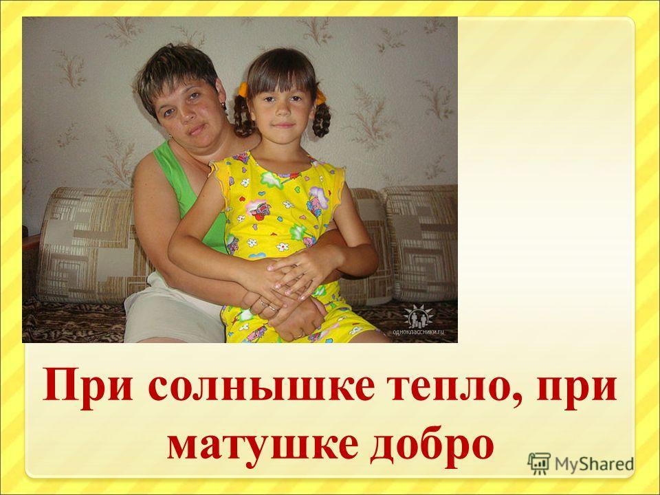 При солнышке тепло, при матушке добро