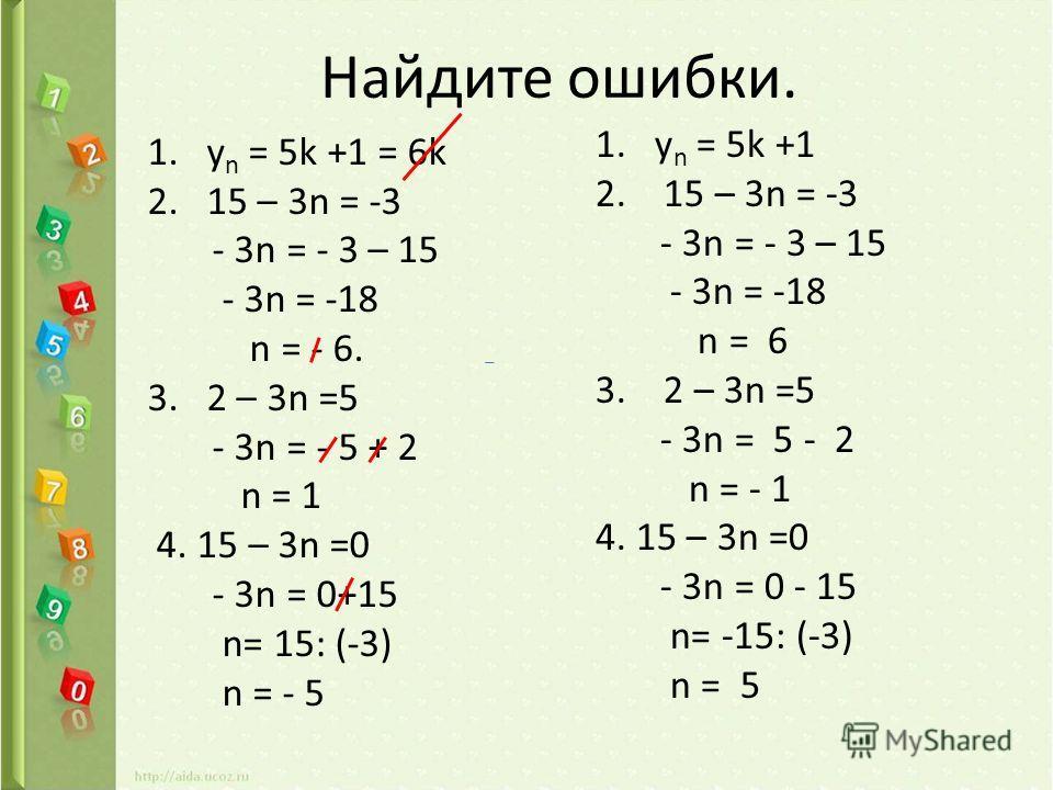 Найдите ошибки. 1.у n = 5k +1 = 6k 2.15 – 3n = -3 - 3n = - 3 – 15 - 3n = -18 n = - 6. 3.2 – 3n =5 - 3n = - 5 + 2 n = 1 4. 15 – 3n =0 - 3n = 0+15 n= 15: (-3) n = - 5 1.у n = 5k +1 2. 15 – 3n = -3 - 3n = - 3 – 15 - 3n = -18 n = 6 3. 2 – 3n =5 - 3n = 5