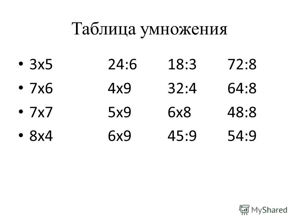 Таблица умножения 3х524:618:372:8 7х64х932:464:8 7х75х96х848:8 8х46х945:954:9