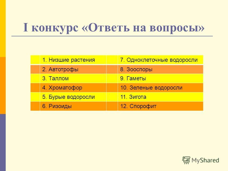 I конкурс «Ответь на вопросы» 1. Низшие растения7. Одноклеточные водоросли 2. Автотрофы8. Зооспоры 3. Таллом9. Гаметы 4. Хроматофор10. Зеленые водоросли 5. Бурые водоросли11. Зигота 6. Ризоиды12. Спорофит