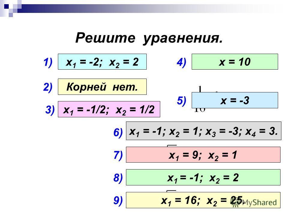 Решите уравнения. 1) 2) 3) 4) 5) х 1 = -2; х 2 = 2 Корней нет. х 1 = -1/2; х 2 = 1/2 х = 10 х = -3 6) х 1 = -1; х 2 = 1; х 3 = -3; х 4 = 3. 7) х 1 = 9; х 2 = 1 8) 9) х 1 = -1; х 2 = 2 х 1 = 16; х 2 = 25.