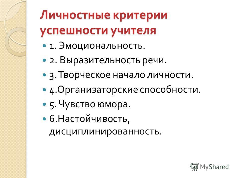 Личностные критерии успешности учителя 1. Эмоциональность. 2. Выразительность речи. 3. Творческое начало личности. 4. Организаторские способности. 5. Чувство юмора. 6. Настойчивость, дисциплинированность.