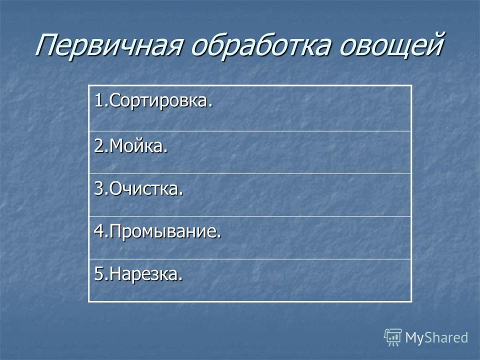 Первичная обработка овощей 1.Сортировка. 2.Мойка. 3.Очистка. 4.Промывание. 5.Нарезка.