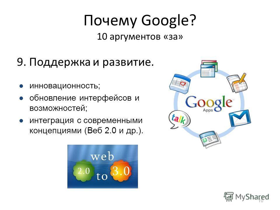 Почему Google? 10 аргументов «за» 9. Поддержка и развитие. 10 инновационность; обновление интерфейсов и возможностей; интеграция с современными концепциями (Веб 2.0 и др.).