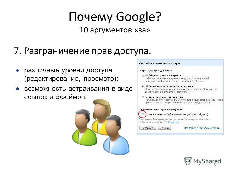 Почему Google? 10 аргументов «за» 7. Разграничение прав доступа. 8 различные уровни доступа (редактирование, просмотр); возможность встраивания в виде ссылок и фреймов.