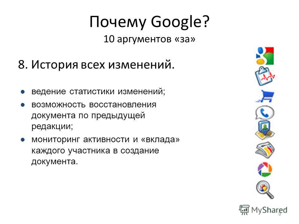 Почему Google? 10 аргументов «за» 8. История всех изменений. 9 ведение статистики изменений; возможность восстановления документа по предыдущей редакции; мониторинг активности и «вклада» каждого участника в создание документа.
