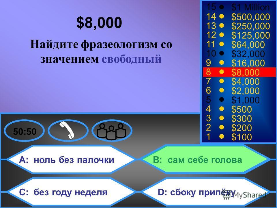 A: ноль без палочки C: без году неделя B: сам себе голова D: сбоку припёку 50:50 15 14 13 12 11 10 9 8 7 6 5 4 3 2 1 $1 Million $500,000 $250,000 $125,000 $64,000 $32,000 $16,000 $8,000 $4,000 $2,000 $1,000 $500 $300 $200 $100 $8,000 Найдите фразеоло