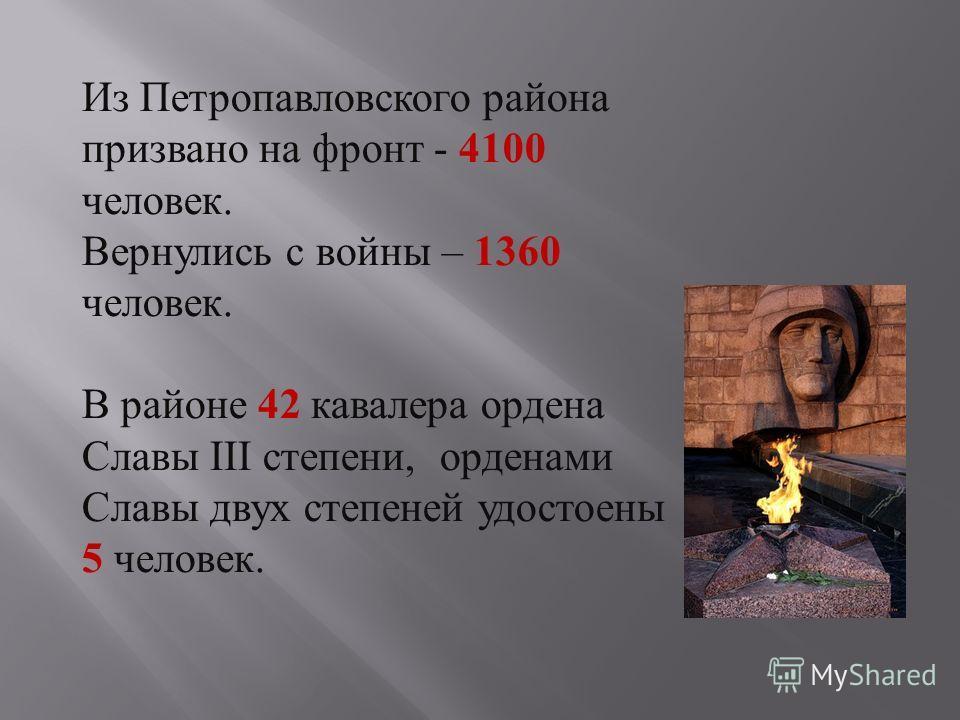 Из Петропавловского района призвано на фронт - 4100 человек. Вернулись c войны – 1360 человек. В районе 42 кавалера ордена Славы III степени, орденами Славы двух степеней удостоены 5 человек.