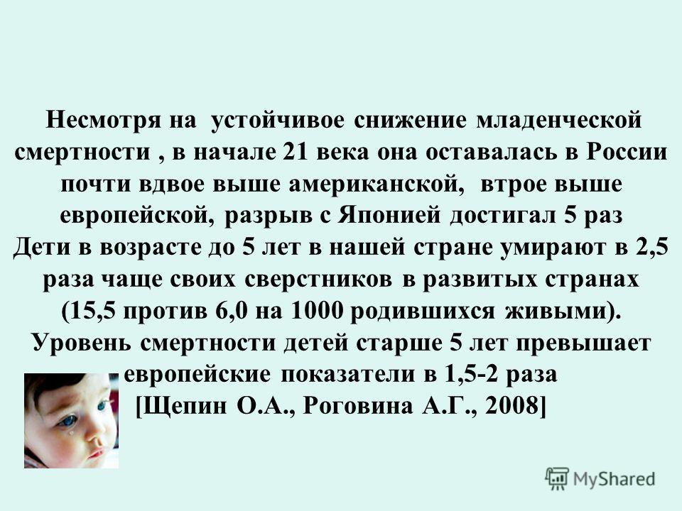 Несмотря на устойчивое снижение младенческой смертности, в начале 21 века она оставалась в России почти вдвое выше американской, втрое выше европейской, разрыв с Японией достигал 5 раз Дети в возрасте до 5 лет в нашей стране умирают в 2,5 раза чаще с