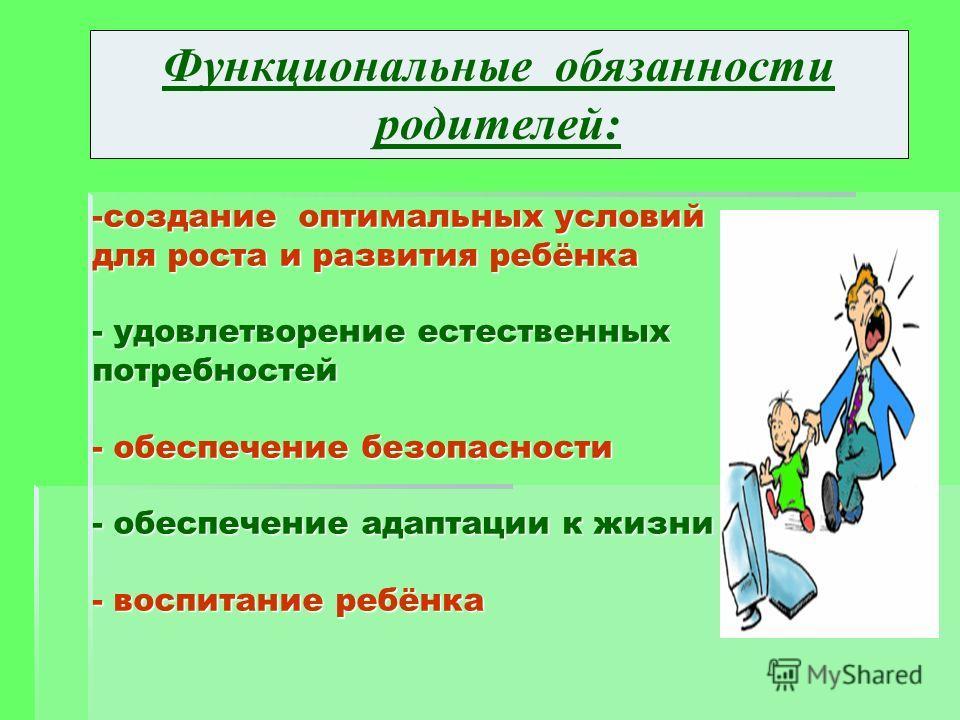-создание оптимальных условий для роста и развития ребёнка - удовлетворение естественных потребностей - обеспечение безопасности - обеспечение адаптации к жизни - воспитание ребёнка -создание оптимальных условий для роста и развития ребёнка - удовлет