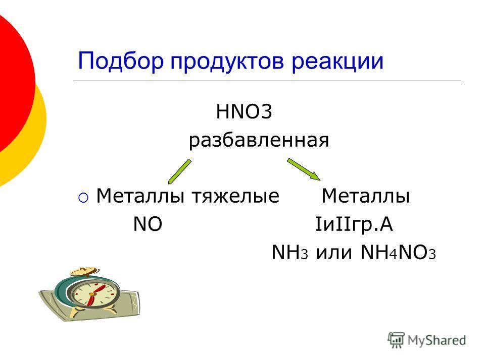 Подбор продуктов реакции HNO3 разбавленная Металлы тяжелые Металлы NO IиIIгр.А NH 3 или NH 4 NO 3