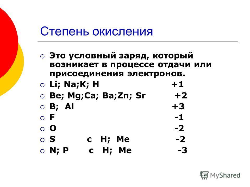 Степень окисления Это условный заряд, который возникает в процессе отдачи или присоединения электронов. Li; Na;K; H +1 Be; Mg;Ca; Ba;Zn; Sr +2 B; Al +3 F -1 O -2 S c H; Me -2 N; P c H; Me -3