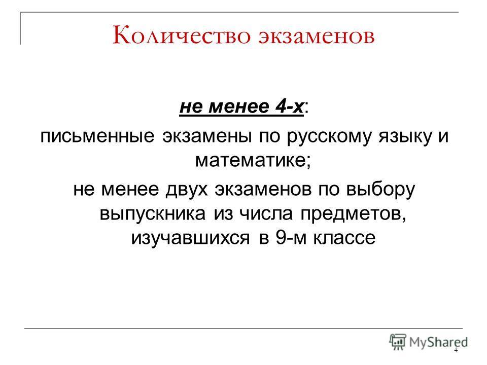 4 не менее 4-х: письменные экзамены по русскому языку и математике; не менее двух экзаменов по выбору выпускника из числа предметов, изучавшихся в 9-м классе Количество экзаменов