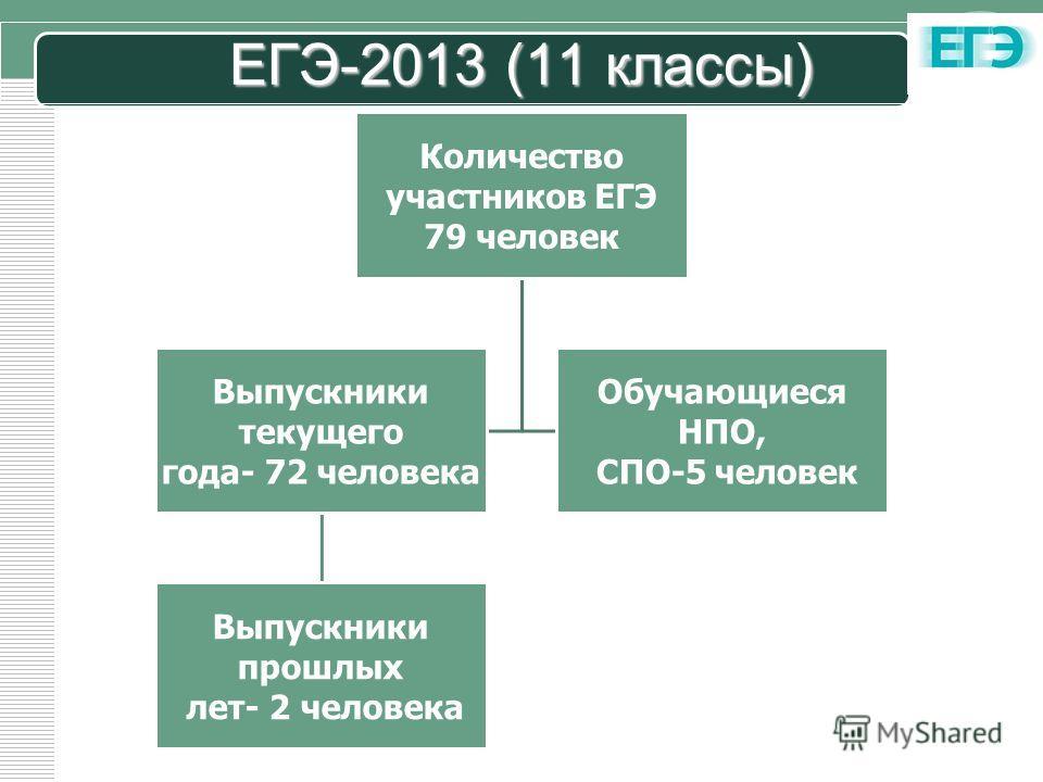 LOGO ЕГЭ-2013 (11 классы) Количество участников ЕГЭ 79 человек Выпускники текущего года- 72 человека Выпускники прошлых лет- 2 человека Обучающиеся НПО, СПО-5 человек