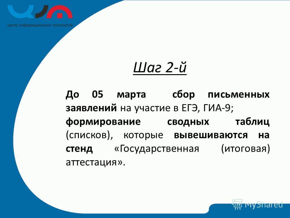 Шаг 2-й До 05 марта сбор письменных заявлений на участие в ЕГЭ, ГИА-9; формирование сводных таблиц (списков), которые вывешиваются на стенд «Государственная (итоговая) аттестация».