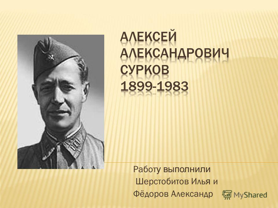 Работ у выполнили Шерстобитов Иль я и Фёдоров Александр