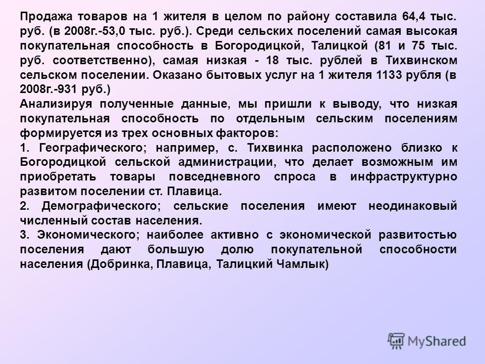 Продажа товаров на 1 жителя в целом по району составила 64,4 тыс. руб. (в 2008г.-53,0 тыс. руб.). Среди сельских поселений самая высокая покупательная способность в Богородицкой, Талицкой (81 и 75 тыс. руб. соответственно), самая низкая - 18 тыс. руб