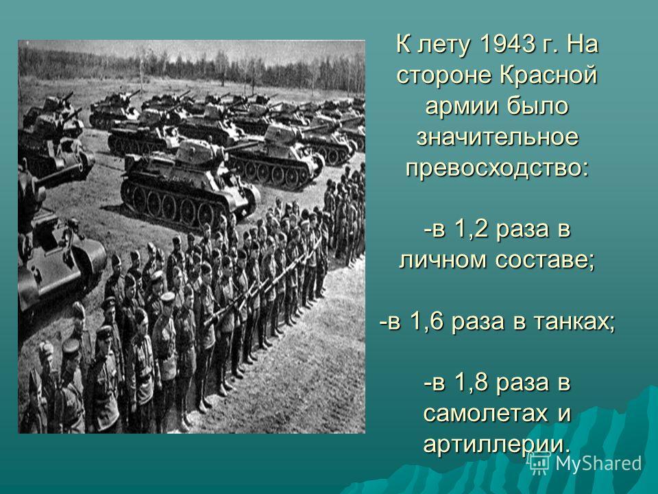 К лету 1943 г. На стороне Красной армии было значительное превосходство: -в 1,2 раза в личном составе; -в 1,6 раза в танках; -в 1,8 раза в самолетах и артиллерии.