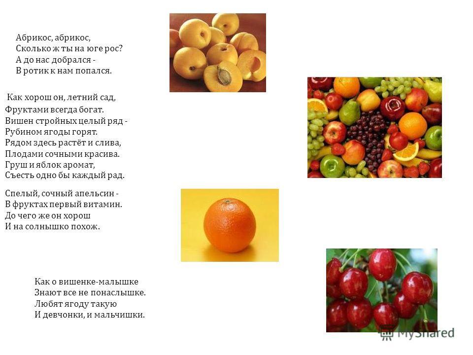 Как хорош он, летний сад, Фруктами всегда богат. Вишен стройных целый ряд - Рубином ягоды горят. Рядом здесь растёт и слива, Плодами сочными красива. Груш и яблок аромат, Съесть одно бы каждый рад. Спелый, сочный апельсин - В фруктах первый витамин.