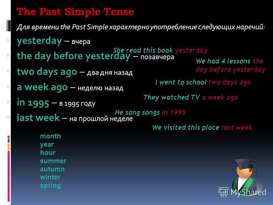 The Past Simple Tense Для времени the Past Simple характерно употребление следующих наречий: yesterday – вчера the day before yesterday – позавчера two days ago – два дня назад a week ago – неделю назад in 1995 – в 1995 году last week – на прошлой не