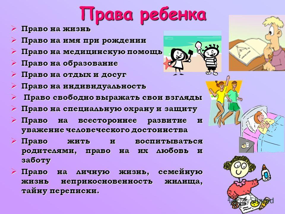 Права ребенка Право на жизнь Право на жизнь Право на имя при рождении Право на имя при рождении Право на медицинскую помощь Право на медицинскую помощь Право на образование Право на образование Право на отдых и досуг Право на отдых и досуг Право на и