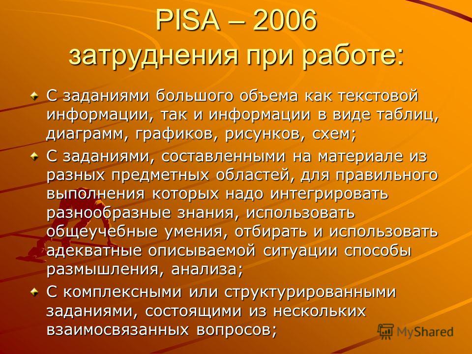 PISA – 2006 затруднения при работе: С заданиями большого объема как текстовой информации, так и информации в виде таблиц, диаграмм, графиков, рисунков, схем; С заданиями, составленными на материале из разных предметных областей, для правильного выпол