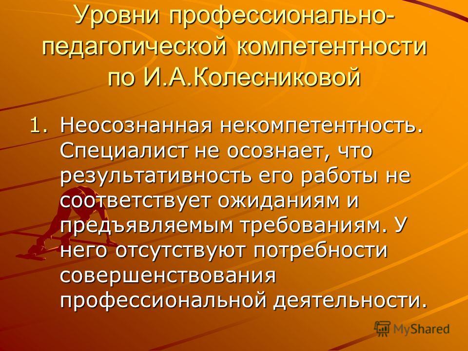 Уровни профессионально- педагогической компетентности по И.А.Колесниковой 1.Неосознанная некомпетентность. Специалист не осознает, что результативность его работы не соответствует ожиданиям и предъявляемым требованиям. У него отсутствуют потребности