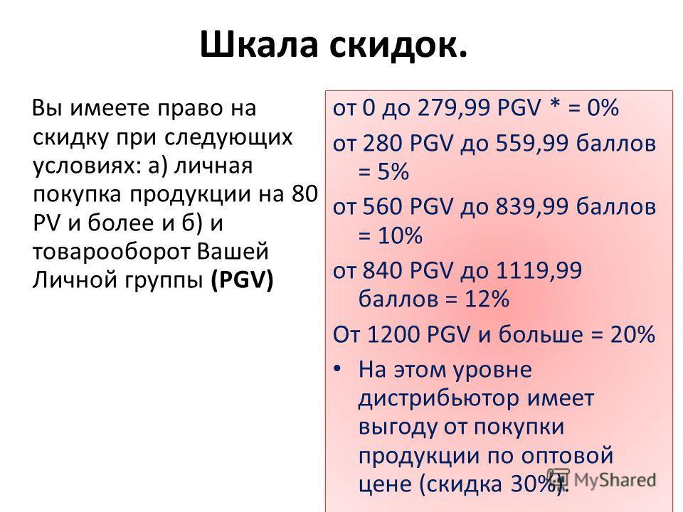 Шкала скидок. Вы имеете право на скидку при следующих условиях: а) личная покупка продукции на 80 PV и более и б) и товарооборот Вашей Личной группы (PGV) от 0 до 279,99 PGV * = 0% от 280 PGV до 559,99 баллов = 5% от 560 PGV до 839,99 баллов = 10% от
