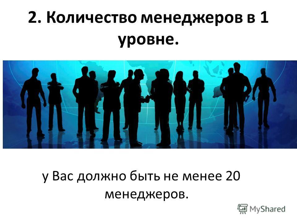 2. Количество менеджеров в 1 уровне. у Вас должно быть не менее 20 менеджеров.