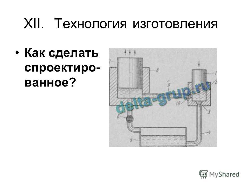 XII.Технология изготовления Как сделать спроектиро- ванное?