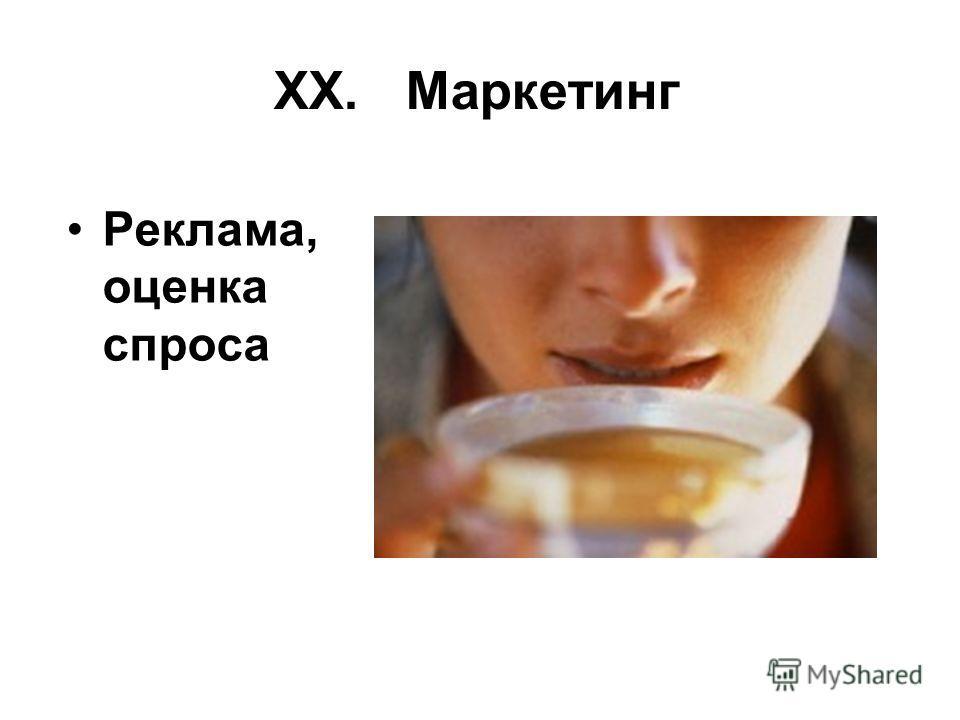 XX. Маркетинг Реклама, оценка спроса